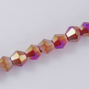 Faceted Glass 4mm Bicone Red AB Plated